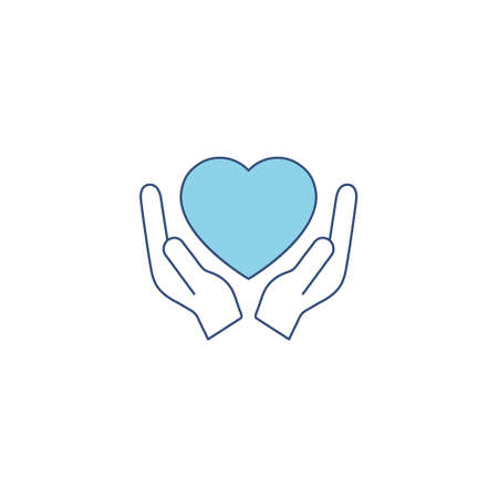 Heart blue silhouette icon on the hand isolated on the white background. Voluntary symbol illustration.