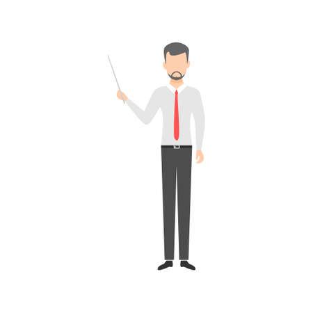 Young man with a pointer. Teacher showing presentation. Education concept. Businessman holding pointer. Vector illustration isolated on white.