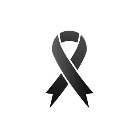 Black awareness ribbon icon. Mourning and melanoma symbol. Vector illustration isolated on white.