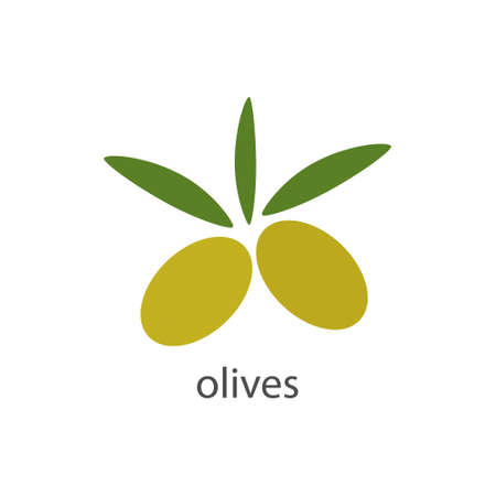 Olives fresh icon. Healthy food tasty symbol. Green olive with inscription vector isolated on white.