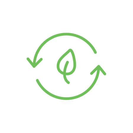 Biodegradable green icon. Recycle leaf symbol. Bio recycling degradable sign. Vector organic illustration isolated on white Illustration