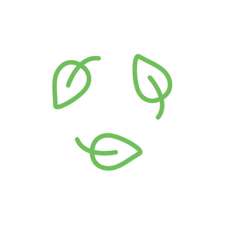 Biodegradable green icon. Recycle leaf symbol. Bio recycling degradable sign. Vector organic illustration isolated on white