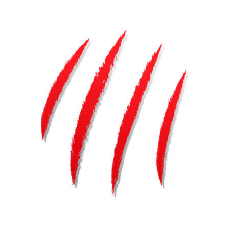 Claws scratches. Red predator claw symbol. Blood sign. Vector illustration isolated on white. Vektorgrafik