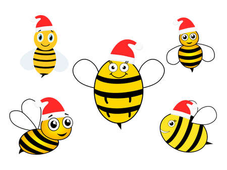Cute bees with Santa hat set. Cartoon happy festive bee mascot character collection. Vector illustration isolated on white. Merry Christmas concept.