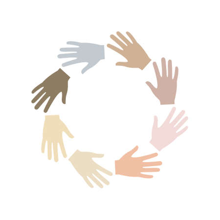 Multicultural friendship symbol. Multiracial hands together in round shape. Global unity concept. Vector illustration isolated on white background.