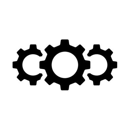 Gear icon set. Technology connection symbol. Business teamwork concept. Vector illustration. Ilustración de vector