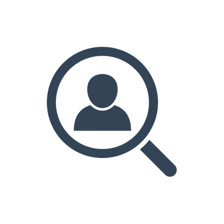 Looking for people icon. Headhunting symbol. Find human resources. Search job concept. Magnifying glass search employee.