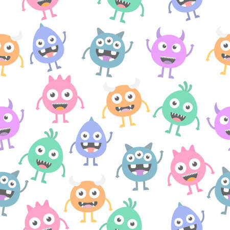 Seamless pattern cartoon cute monsters background. Halloween design vector illustration isolated on white background