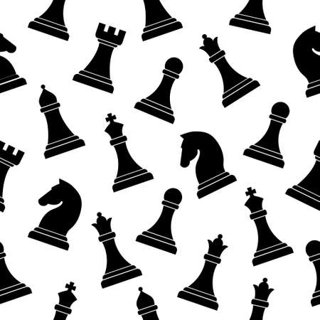 Seamless chess pattern vector background. Board smart game concept. Black figures vector illustration.