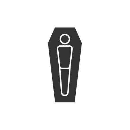 Coffin icon. Burial black silhouette vector illustration isolated on white.