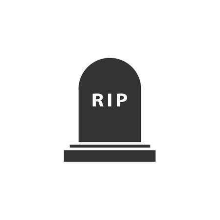 Rip grave icon. Tombstone burial symbol. Vector illustration isolated on white.