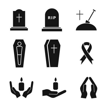 Funeral icon set. Death concept. Religion burial symbol collection. Vector isolated on white  イラスト・ベクター素材