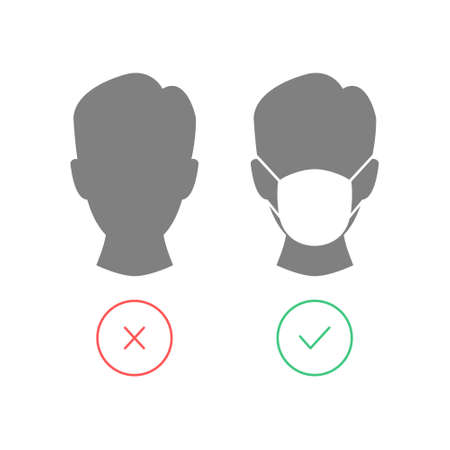 Men head with protective mask. No entry without face mask icon.