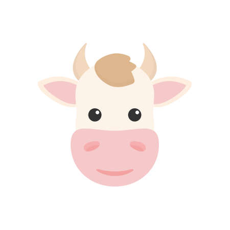Cow head icon. Farm flat animal. Vector isolated on white background
