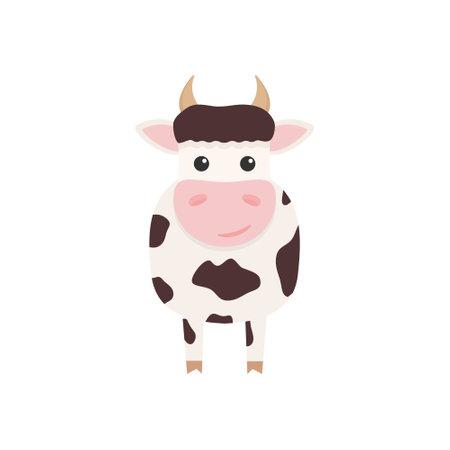 Cute cow charcater. Farm cartoon animal. Vector illustration isolated on white Ilustrace