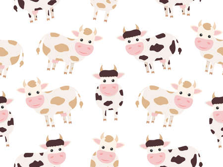 Cute cow seamless pattern. Vector farm animal background.