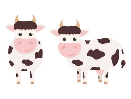 Cute cows charcaters set. Farm cartoon animals. Vector illustration isolated on white