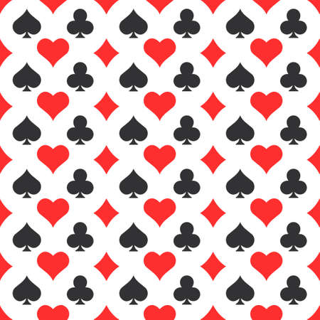 Poker suits seamless pattern background. Casino elements vector illustration.