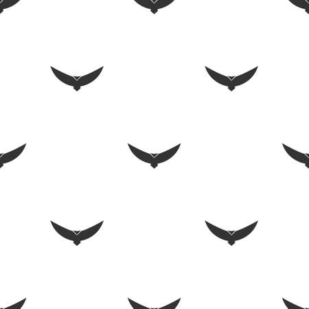 Black bird seamless pattern. Flying abstract condor with expanded wings. Vector isolated on white