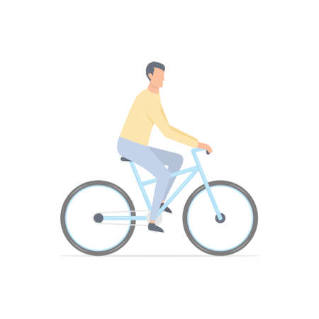 Young man rides bicycle. Cartoon guy on bicycle. Healthy lifestyle concept. Vector illustration isolated on white