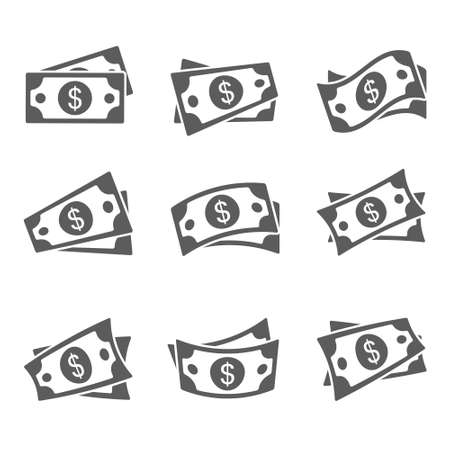 Dollar cash icon set. Currency symbol. Black money silhouette collection in flat style. Vector illustration isolated on white background.