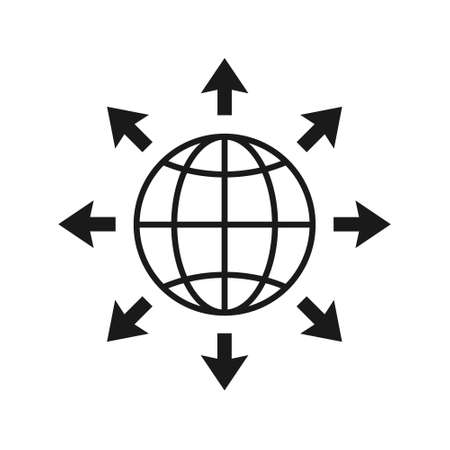 World expansion black icon. Globe line symbol with arrows. Vector isolated on white