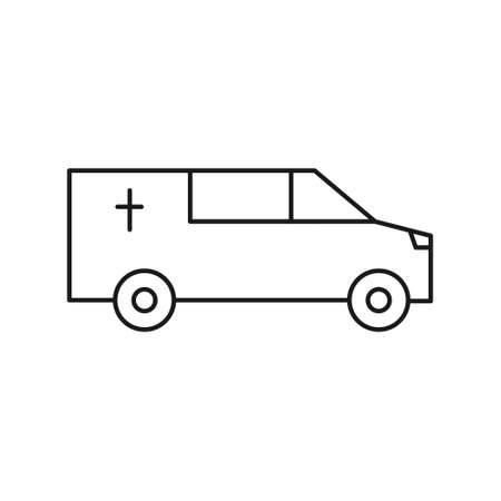 Hearse car line icon. Burial outline transport. Coffin automobile symbol. Vector isolated on white