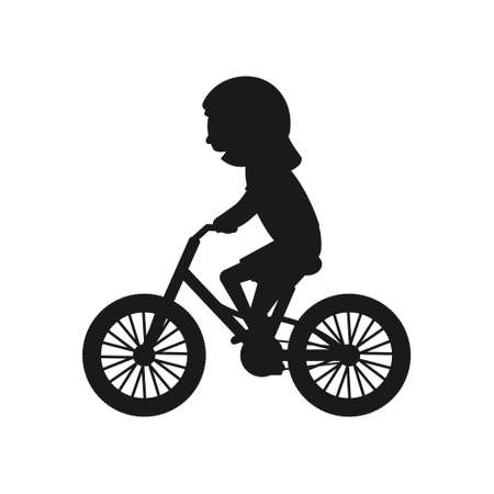 Cute girl riding bike silhouette. Healthy lifestyle in black color concept. Little child rides bicycle. Vector isolated on white