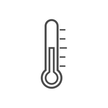 Thermometer line icon. Measurement outline instrument. Weather thermometer black silhouette. Medical device. Vector illustration isolated on white.