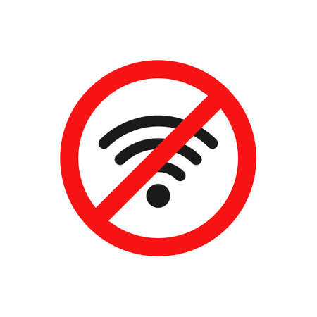 No wifi icon. Red ban circle sign. Prohibition wireless network pictogram. No internet concept. Wireless technology symbol. Vector isolated on white background Ilustración de vector