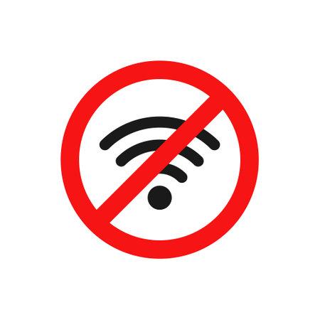 No wifi icon. Red ban circle sign. Prohibition wireless network pictogram. No internet concept. Wireless technology symbol. Vector isolated on white background Vektoros illusztráció