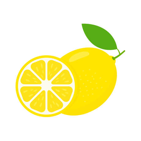 Lemon icon set. Fruit citrus with pieces or slices. Vitamin C. Vector illustration isolated on white.