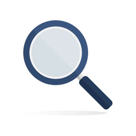 Magnifying glass flat icon. Magnifier blue search element. Detective symbol. Vector isolated on white