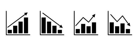 Graphics charts black icons set. Statistics infographic information elements. Big data concept. Business analysis graphs symbols collection. Vector illustration isolated on white
