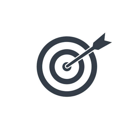 Target with arrow black icon. Goal line symbol. Successful shoot. Business aim pictogram. Darts element. Vector illustration isolated on white