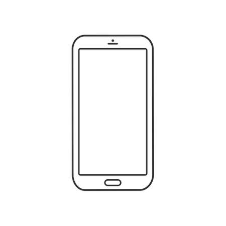 Mobile phone line icon. Simple smartphone outline symbol. Vector isolated on white background