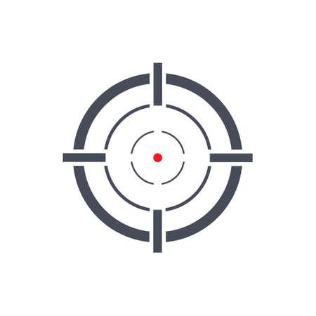 Shooting target black icon. Aim sniper shoot with red point. Focus cursor bull eye mark. Vector isolated on white
