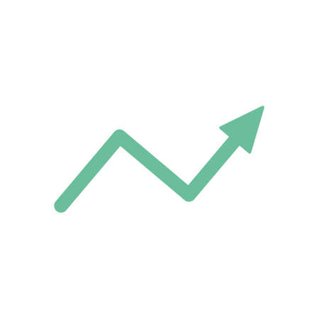 Increase arrow sign. Green rising arrow icon. Business success concept. Vector isolated on white.