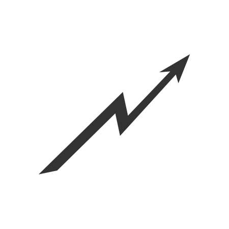 Rising arrow black icon. Growing bar pictogram. Vector success illustration isolated on white.