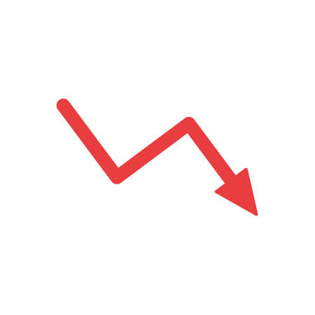 Decrease arrow sign. Reduction and crisis red symbol icon. Business concept. Vector isolated on white.