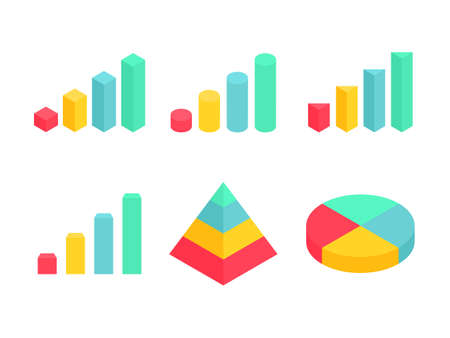 Isometric graph, pyramid and pie chart set. Business colorful analysis symbols for reports and presentations. Big data concept. Infographic 3D elements collection. Vector illustration isolated