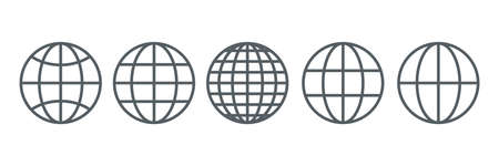 Globe icons set. Internet global pictograms. World wide web outline symbols collection. Homepage sign. Vector illustration isolated on white
