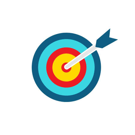 Target colorful icon. Goal symbol with bow arrow. Darts game element. Marketing or business aim. Vector illustration isolated on white Иллюстрация