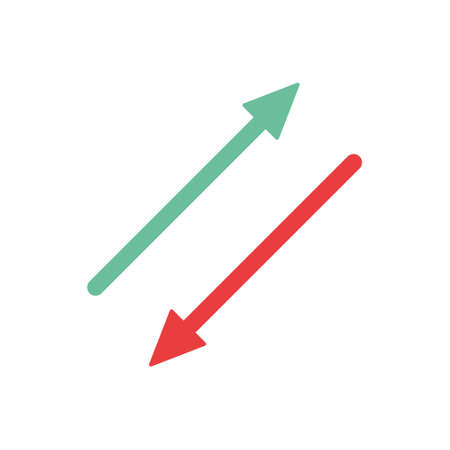 Increase and decrease arrows sign. Rising and falling arrow icon. Business concept. Vector isolated on white.