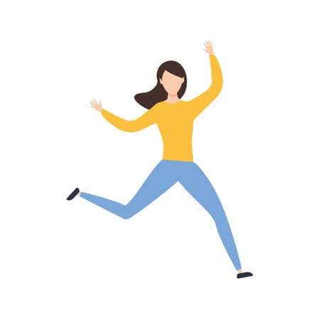 Happy woman jumping. Cute girl dance. Success concept. Vector isolated on white Иллюстрация