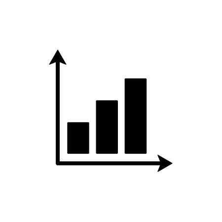 Graph chart icon. Growing black graph outline. Vector illustration isolated on white.