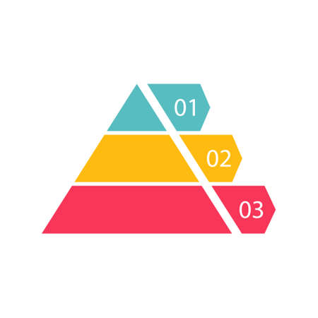 Pyramid infographic template with 3 colorful levels. Triangle data segments. Color hierarchy layout with three charts for banner and presentation. Vector business illustration isolated on white Иллюстрация
