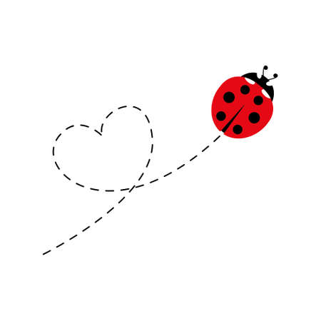 Cute ladybird with dotted line route. Cartoon ladybug flying in heart shape. Vector illustration isolated on white