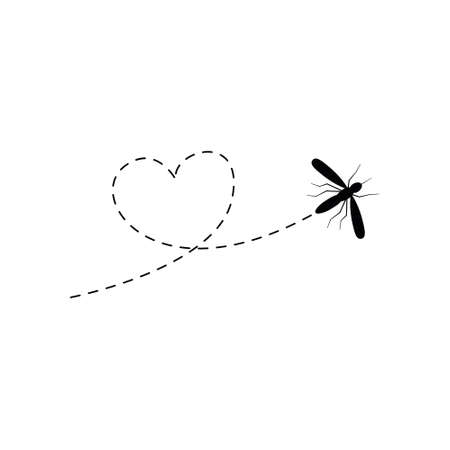 Cute mosquito with dotted line route. Black mosquito flying in heart shape. Vector illustration isolated on white Иллюстрация