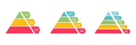 Pyramid infographic colorful set. Triangle hierarchy data segments collection. Vector business illustration isolated on white